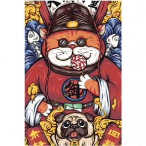 Кот и бульдог 80х120 Раскраска картина по номерам на холсте