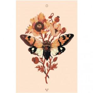 Бабочка на цветке 80х120 Раскраска картина по номерам на холсте