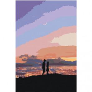 Влюбленные силуэт Раскраска картина по номерам на холсте