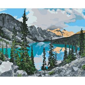 Озеро в горах Раскраска картина по номерам на холсте U8119