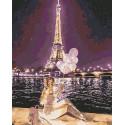 Ночной Париж Раскраска картина по номерам на холсте