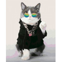 Модный кот Раскраска картина по номерам на холсте