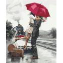 Объятия под красный зонтом Раскраска картина по номерам на холсте