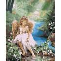 Ангелочек у воды Раскраска картина по номерам на холсте