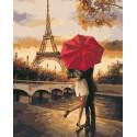Поцелуй в Париже Раскраска картина по номерам на холсте