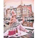 Девушка с вином у канала Раскраска картина по номерам на холсте