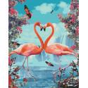 Пара фламинго Раскраска картина по номерам на холсте