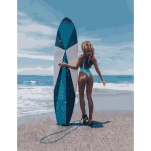 Серфингистка Раскраска картина по номерам на холсте