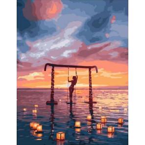 Водные фонарики на закате Раскраска картина по номерам на холсте PK11127