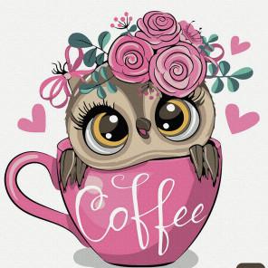 Хочу кофе!! Раскраска картина по номерам на холсте KH1030