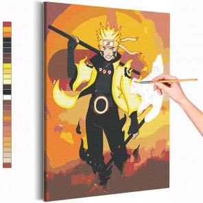 Наруто / Магия Анимэ Раскраска картина по номерам на холсте с неоновыми красками AAAA-ANI034