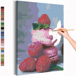 Макаруны и малина Раскраска картина по номерам на холсте AAAA-RS141