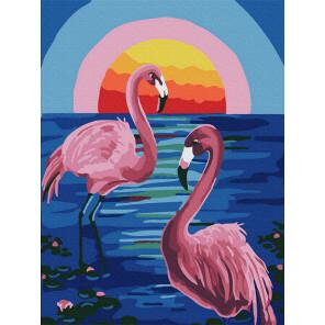 Розовые фламинго Раскраска картина по номерам на холсте KH1003