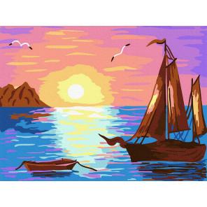 Парусник на закате Раскраска картина по номерам на холсте KH1004