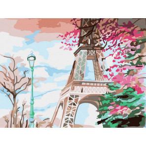 Эйфелева башня Раскраска картина по номерам на холсте KH0993