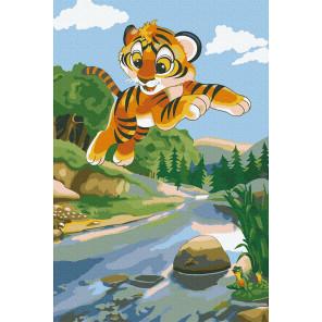 Игривый тигрёнок Раскраска картина по номерам на холсте KH1046