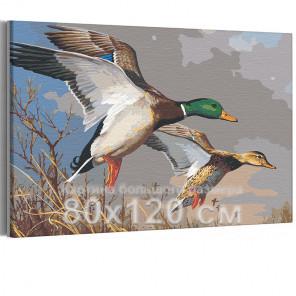 Утки над прудом осенью 80х120 см Раскраска картина по номерам на холсте AAAA-RS042-80x120
