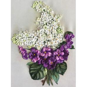 Сирень с фиалками Набор для вышивки лентами Многоцветница МЛ(Н)-4003