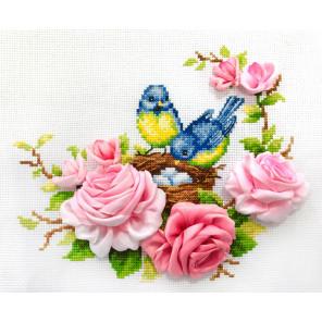 Синички Набор для вышивания счетным крестом и лентами Многоцветница МЛН-01