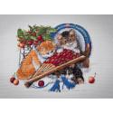 Котята и вишни Набор для вышивания Merejka