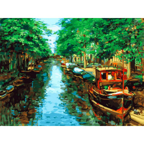 Красный кораблик Раскраска картина по номерам на холсте Белоснежка 398-AS