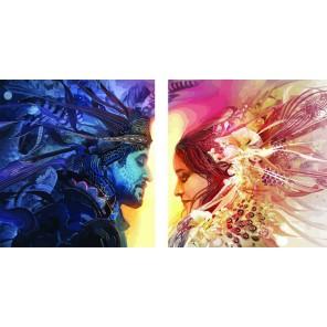 День и ночь Диптих Раскраска по номерам акриловыми красками на холсте Color Kit