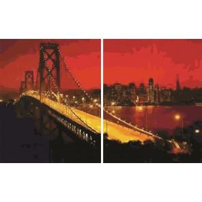 Нью-Йорк Диптих Раскраска по номерам акриловыми красками на холсте Color Kit