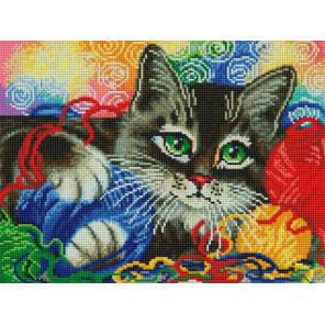 Котик с клубочками Алмазная вышивка мозаика на подрамнике Белоснежка 600-ST-S