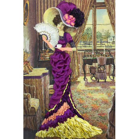 Дама с кофе Набор для вышивания лентами Многоцветница МЛ(Н)-3001