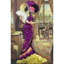 Дама с кофе Набор для вышивания лентами Многоцветница