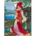 Дама в красном Набор для вышивания лентами Многоцветница