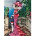 Дама в розовом Набор для вышивания лентами Многоцветница
