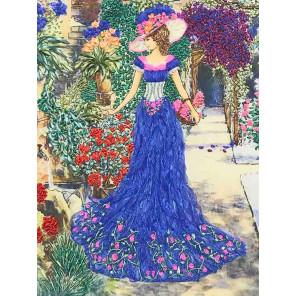 Дама с корзиной цветов Набор для вышивания лентами Многоцветница МЛ(Н)-3006
