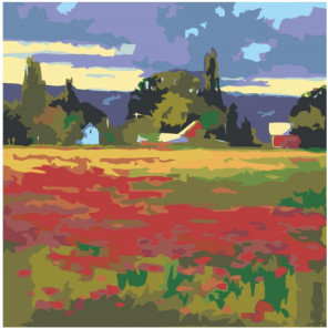 Пейзаж поле с цветами Раскраска картина по номерам на холсте