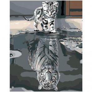 Котенок в отражении тигр 80х100 Раскраска картина по номерам на холсте