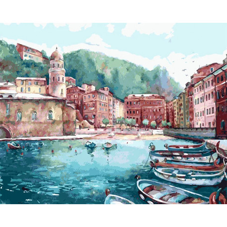 Кафе у моря Картина по номерам на холсте Color Kit CG2009