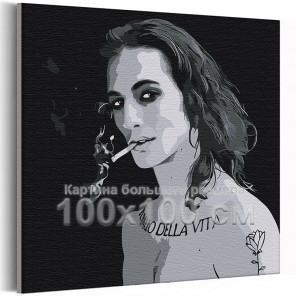 Maneskin / Damiano David черно-белый 100х100 см Раскраска картина по номерам на холсте AAAA-RS098-100x100