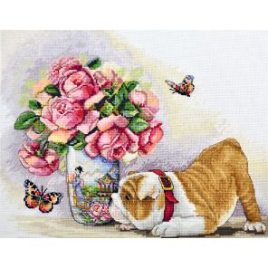 Бульдог и бабочки Набор для вышивания Merejka K-94
