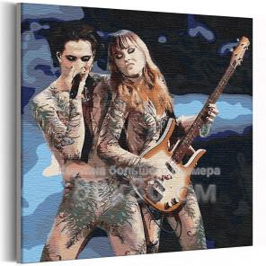 Maneskin / Дамиано и Виктория 80х80 см Раскраска картина по номерам на холсте AAAA-RS308-80x80