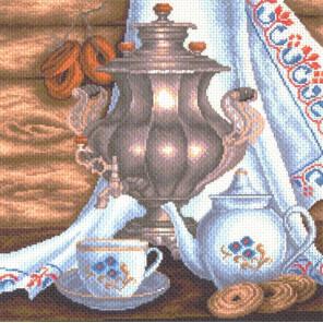 Натюрморт с самоваром Канва с рисунком для вышивки крестом Матренин посад 1413