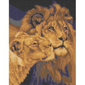 Лев и львица Канва с рисунком для вышивки бисером Каролинка ТКБЖ 3034