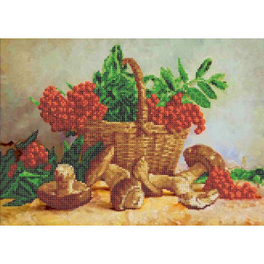 Корзина с рябиной и грибами Канва с рисунком для вышивки бисером Каролинка ТКБЦ 3051