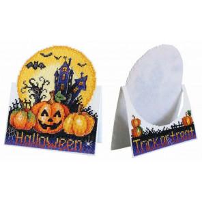 Открытка Хэллоуин Набор для вышивания крестом на пластиковой канве МП-Студия Р-586