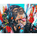 Озорная обезьянка Раскраска картина по номерам на холсте