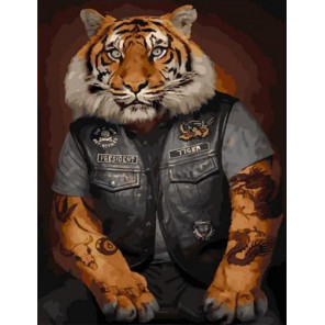 Тигр Байкер Раскраска картина по номерам на холсте PK11513