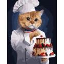 Кот кондитер Раскраска картина по номерам на холсте