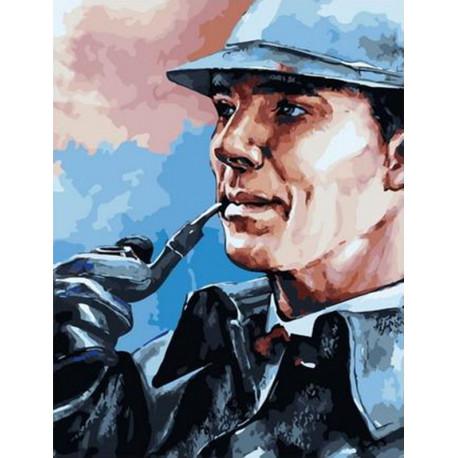 Шерлок с трубкой Раскраска картина по номерам на холсте PK11507