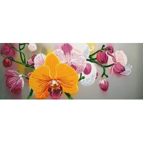 Нежные орхидеи Ткань с рисунком для вышивки бисером Конек 8496