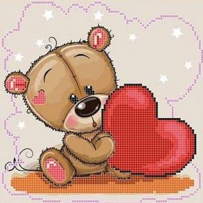 Сердечко Ткань с рисунком для вышивки бисером Божья коровка 0120
