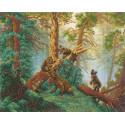 Мишки в сосновом лесу Набор для частичной вышивки бисером Русская искусница